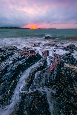 Reflected Sunset Light - Glassilaun Beach, County Galway, Ireland