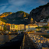 Wide Angle Look At The Town Of Amalfi In First Light