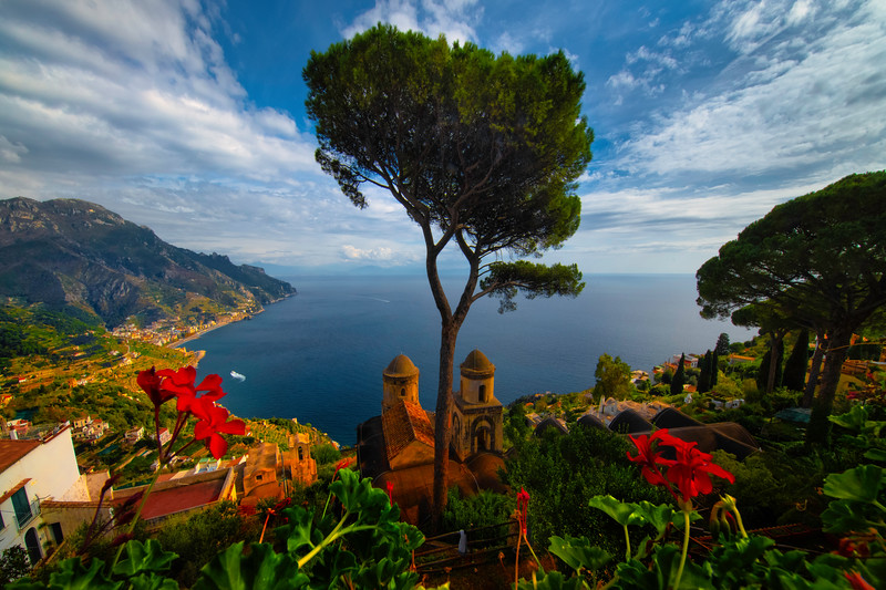 Flowers On Either Side Framing The View - Ravello, Amalfi Coast, Campania, Italy
