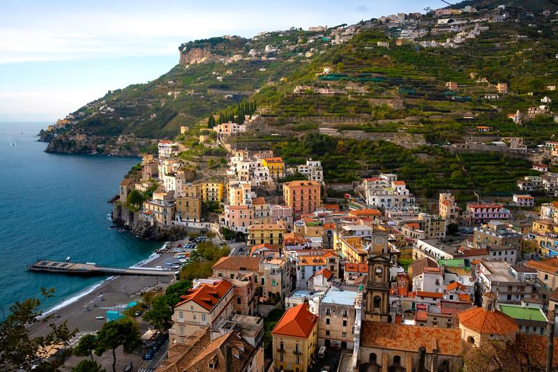 The Town Of Minori In Late Afternoon Light - Cetara, Amalfi Coast, Bay Of Naples, Campania, Italy