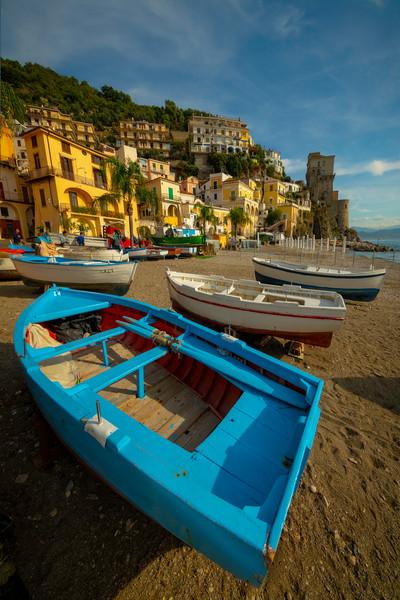 Warm Light On Beach Near Days End - Cetara, Amalfi Coast, Bay Of Naples, Campania, Italy