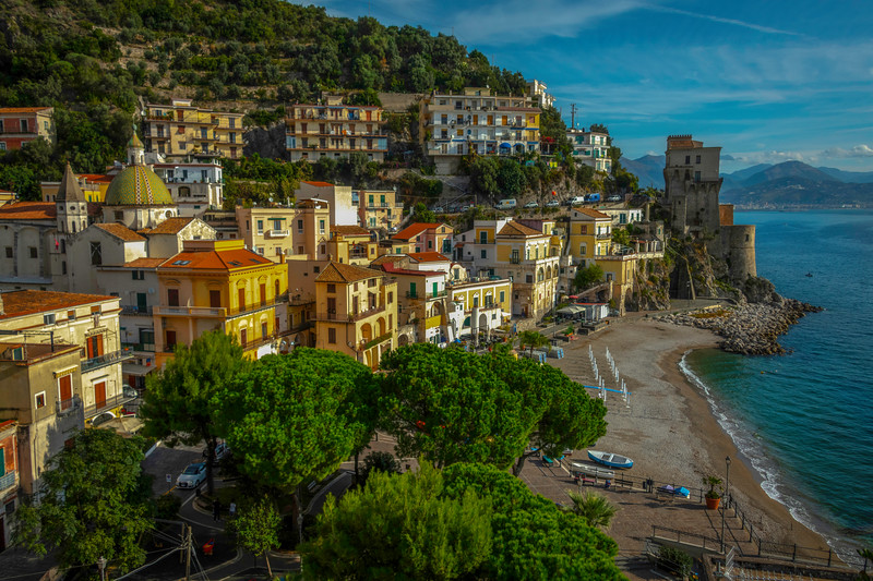 Looking At The Town Of Cetara and Beach - Cetara, Amalfi Coast, Bay Of Naples, Campania, Italy