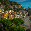 Looking At The Town Of Cetara and Beach - Cetara, Amalfi Coast, Bay Of Naples, Campania, Italy