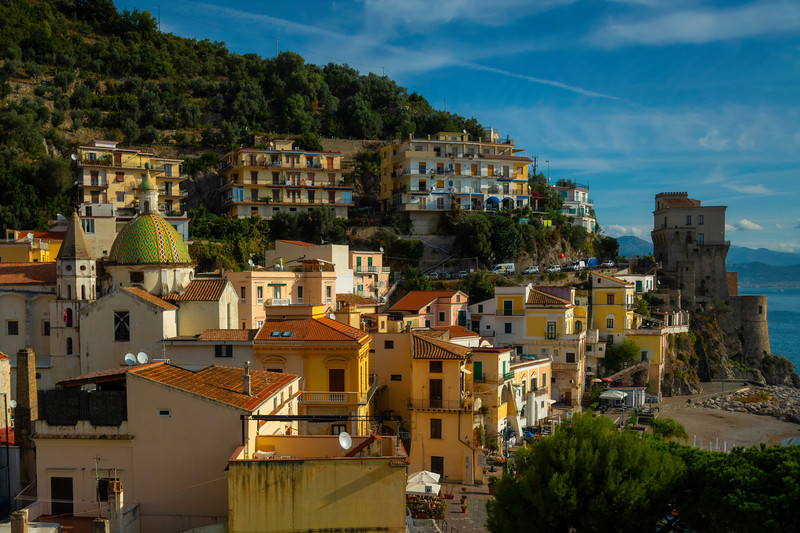 The Tops Of The Buildings In The Town Of Cetara - Cetara, Amalfi Coast, Bay Of Naples, Campania, Italy