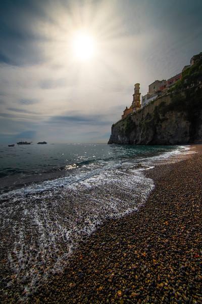 Looking Up At The Town Of Atrani From The Beach - Atrani, Amalfi Coast, Campania, Bay Of Naples, Italy