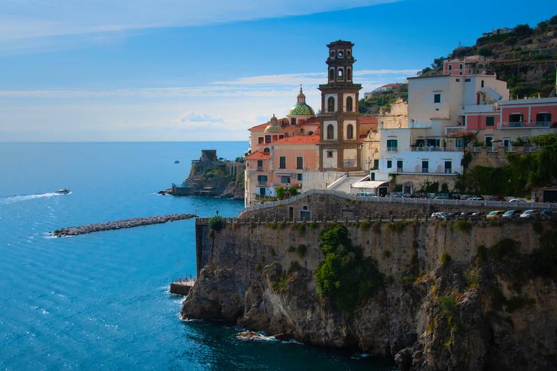 The Blue Waters Surrounding The Town Of Atrani - Atrani, Amalfi Coast, Campania, Bay Of Naples, Italy