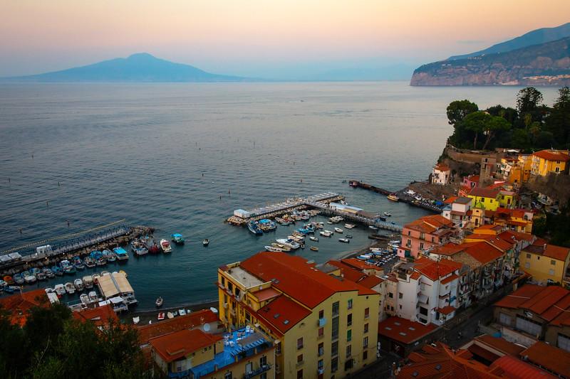 Twilight Hour Sets on Sorrento Coastline Sorrento, Italy