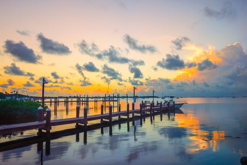 Fire Reflections Over The Key Largo Marina -  Key Largo, Florida Keys, Florida