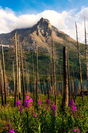 Peak Of Mountain Poking Through -  Saint Mary's Lake, Glacier National Park, Montana
