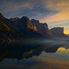 Golden Light Reflections On The Lake - Wild Goose Island Lookout, Saint Mary's Lake, Glacier National Park, Montana