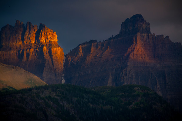 Storm Light Shining On Crown Peaks - Swiftcurrent Lake, Many Glacier, Glacier National Park, Montana