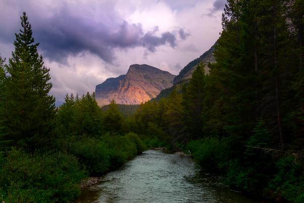 Lightshow On Peak Of Mountain - Grinnell Glacier Trail, Many Glacier, Glacier National Park, Montana