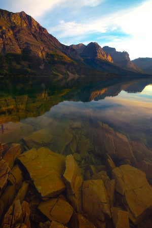 See Through Clarity On St Marys Lake - Wild Goose Island Lookout, Saint Mary's Lake,  National Park, Montana