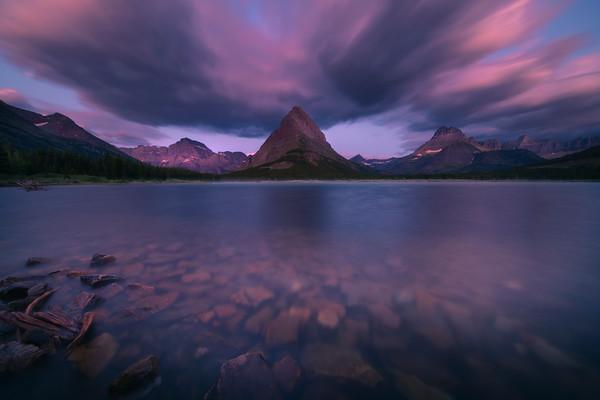 Grinnell Peak and Swift Current Lake Sunrise - Swiftcurrent Lake, Many Glacier, Glacier National Park, Montana