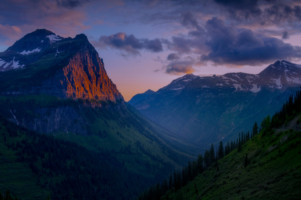 The Crown Peak With The Last Glow Of Red - Weeping Wall,  Going To The Sun Road, Glacier National Park, Montana