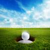 Golf Ball falling into hole