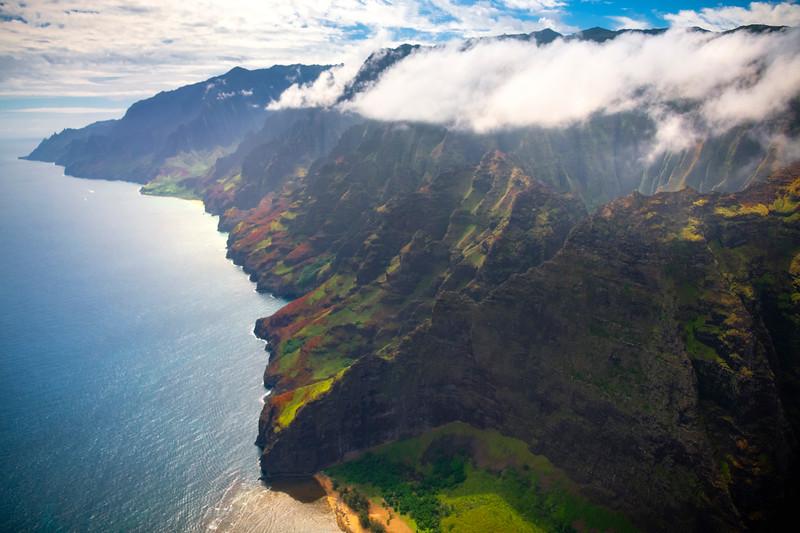 Views Of The Crater And Coastline Of Na Pali - Na Pali Coastline, Kauai, Hawaii