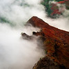 Cloud Mist Working Its Way Up The Cliff Face - Waimea Canyon State Park, West Side, Kauai