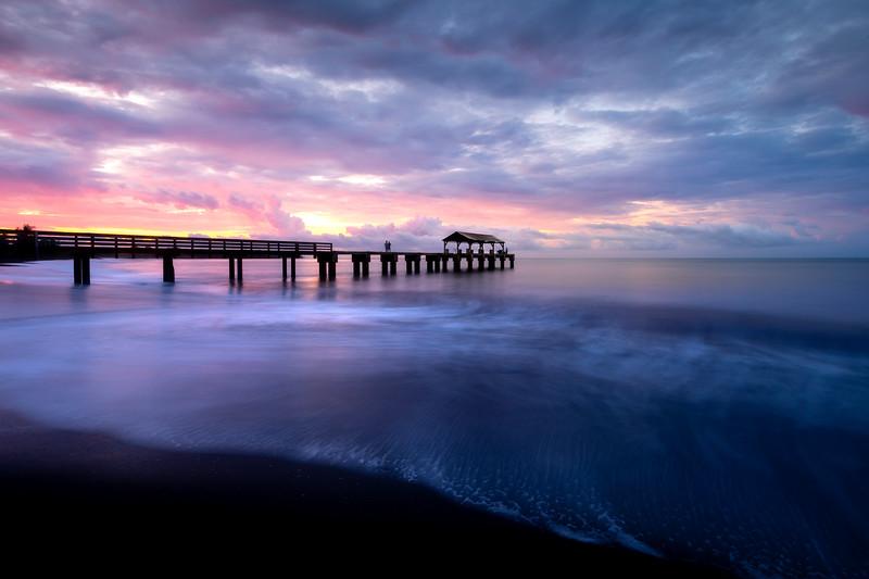 Waimea Pier Sunrise Pinks - Waimea Pier, Waimea, South Shore, Kauai