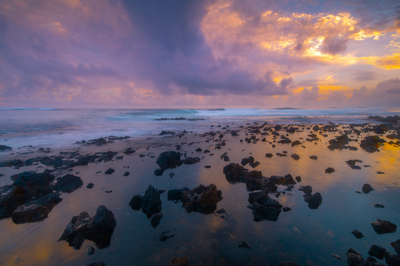 Pink Pastel Twilight Hour Reflecting On Ocean - Honu Bar, Poipu Area, South Shore, Kauai