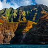 Falling Waterfalls Into The Sea - Na Pali Coastline, Kauai, Hawaii