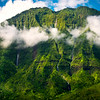 Waterfalls Descending From The Top Of The Peak - Na Pali Coastline, Kauai, Hawaii