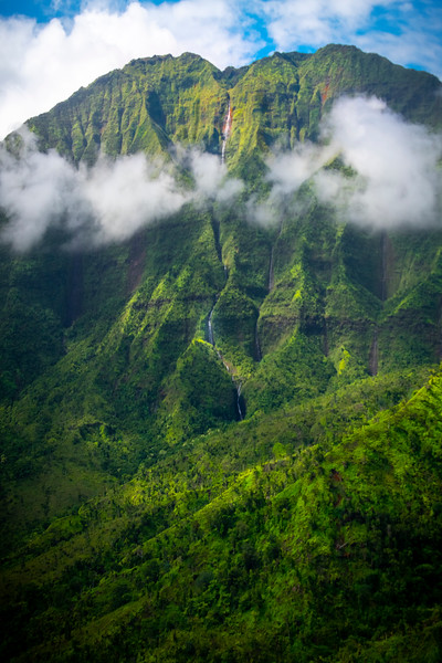 Falling Waterfalls From The Sky - Na Pali Coastline, Kauai, Hawaii