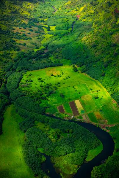 Wide View Of Hanlei River Coming Down Valley - Na Pali Coastline, Kauai, Hawaii