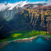 Looking Down At The Na Pali Secluded Beaches - Na Pali Coastline, Kauai, Hawaii