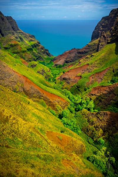 Valley Gateway To The Ocean - Na Pali Coastline, Kauai, Hawaii