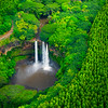 A Wider Look At Wailua Falls From The Sky - Wailua Falls, Kauai, Hawaii