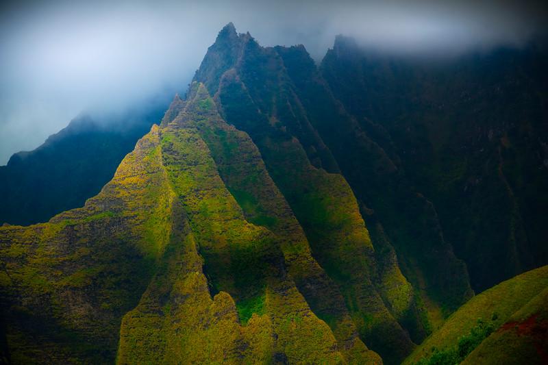 Break In The Clouds Add To The Drama Of Na Pali - Na Pali Coastline, Kauai, Hawaii