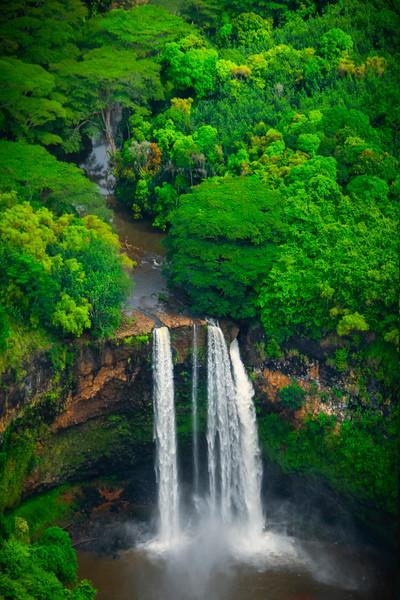 Wailua Falls From The Air  - Wailua Falls, Kauai, Hawaii