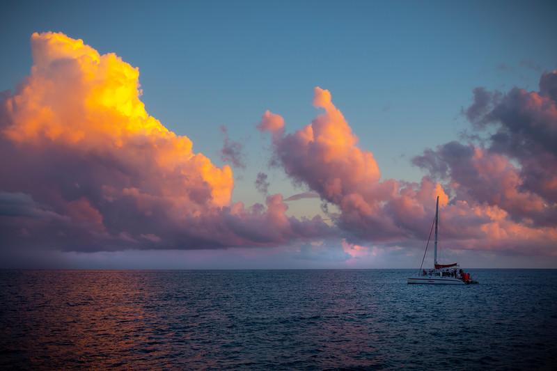 Coming Home Into Twilight Pinks - Na Pali Coastline, Kauai, Hawaii