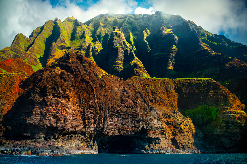 One Of Many Hidden Sea Caves Along The Na Pali - Na Pali Coastline, Kauai, Hawaii