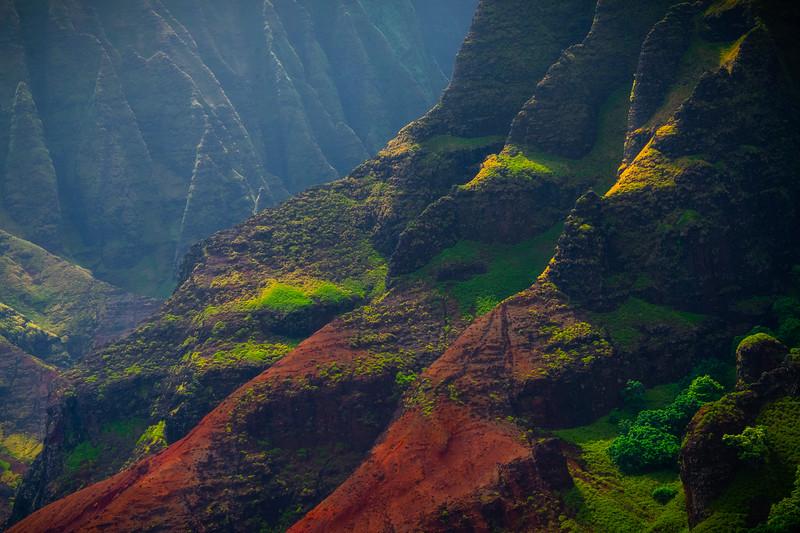 Intersecting Layers Of Light And Shadow - Na Pali Coastline, Kauai, Hawaii
