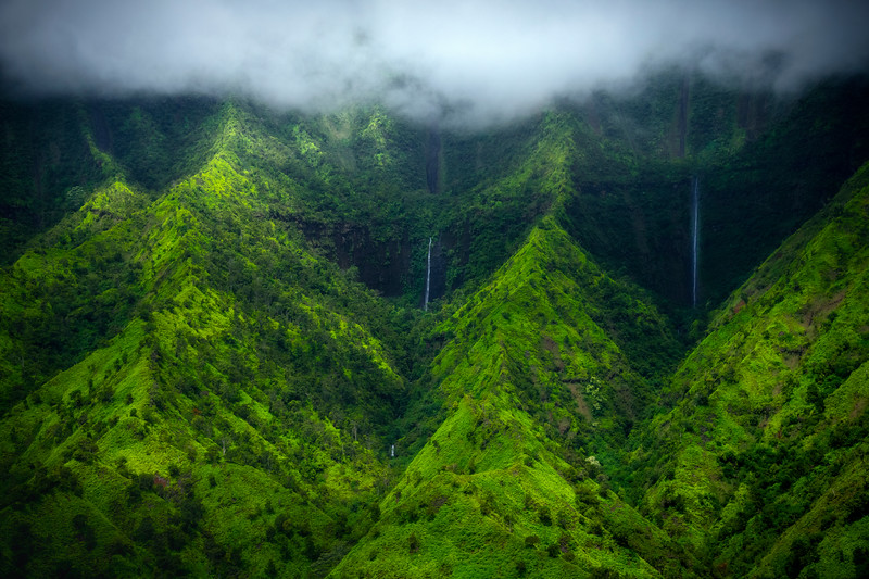 Cascading Staircase Waterfalls - Na Pali Coastline, Kauai, Hawaii