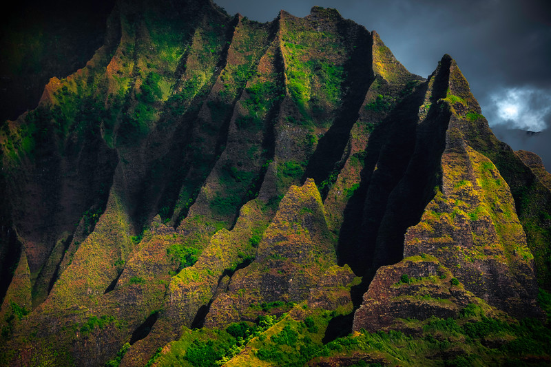 Shaded Moments Of Relief Over The Spires - Na Pali Coastline, Kauai, Hawaii
