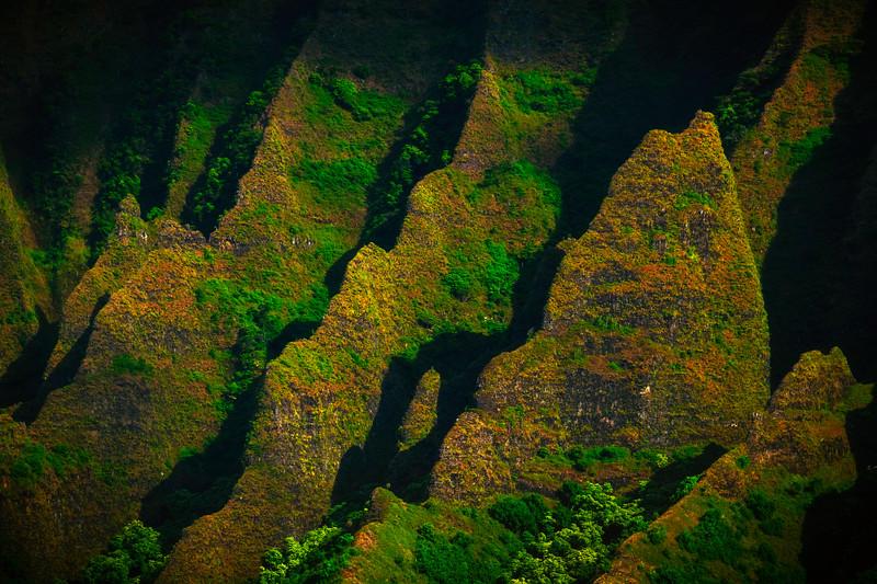 Diagonal Moments Of Light - Na Pali Coastline, Kauai, Hawaii