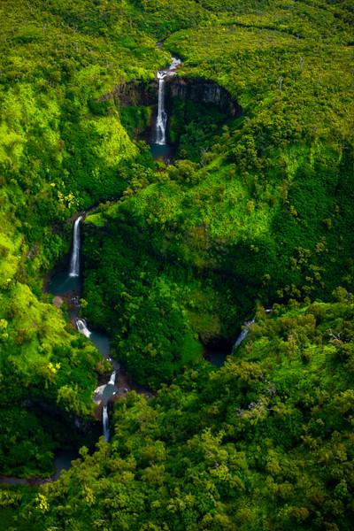 Jurrasic Falls In Morning Light - Waimea Canyon, Kauai, Hawaii