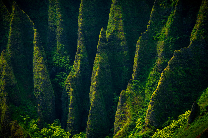 Spines Of Light And Shadow - Na Pali Coastline, Kauai, Hawaii