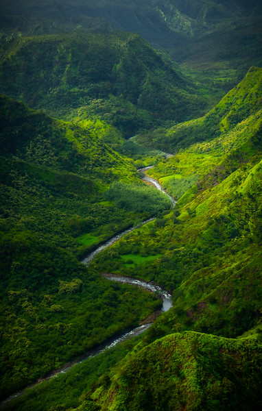 River Flow Down Through Valley - Na Pali Coastline, Kauai, Hawaii
