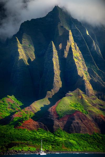 Looking Straight Up At The Spires - Na Pali Coastline, Kauai, Hawaii