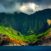 Waterfall Wall Framed Between Spire Peaks - Na Pali Coastline, Kauai, Hawaii