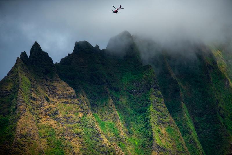 Flying Over The Misty Peaks - Na Pali Coastline, Kauai, Hawaii