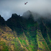 Flying Over The Misty Peaks - Na Pali Coastline, Kauai, Hawaii