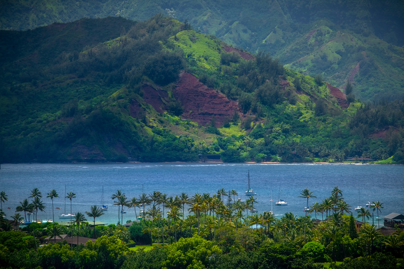 Hanalei Pier And Shoreline From Top Of Hill - Hanalei, Kauai, Hawaiian Islands