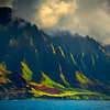 Rim Light Sunglare On The Spire Edges - Na Pali Coastline, Kauai, Hawaii