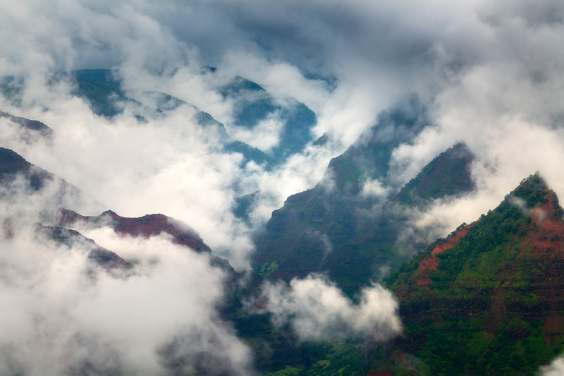 Clouds And Mist Moving In And Out Of The Peaks - Waimea Canyon State Park, West Side, Kauai