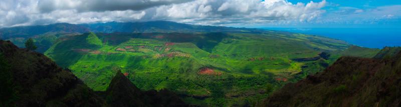 Pano of Valley Beneath The Waimea Canyon - Waimea Valley, Kauai, Hawaii